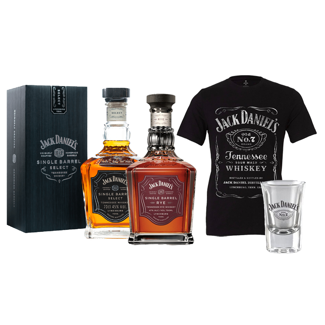 JACK DANIEL'S SINGLE BARREL BUNDLE + T-SHIRT / SHOT GLASS